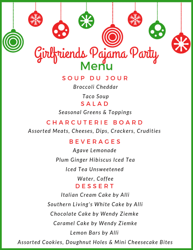 Menu for Best Pajama Party