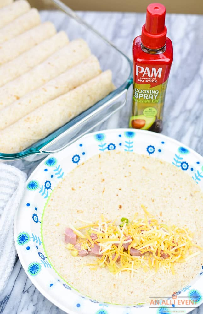 Add cheese to make Breakfast Enchiladas