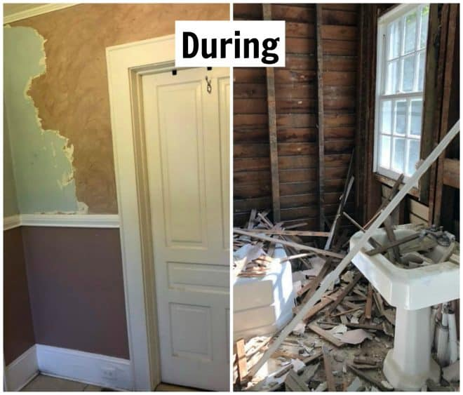 Demolition begins for our complete bathroom remodel