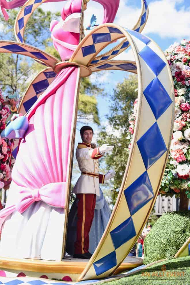 Cinderella during the parade at Disney