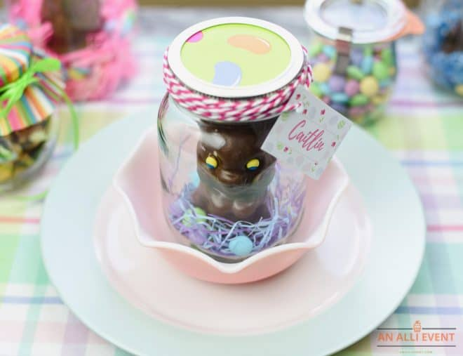 Easter Bunny Mason Jar Gifts are also cute as place cards