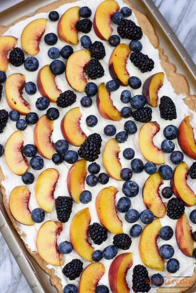 Almond Sugar Cookie Tart with Peaches and Berries