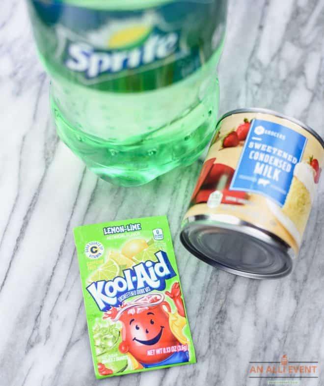 Ingredients to Make Lemon-Lime Kool-Aid Sherbet
