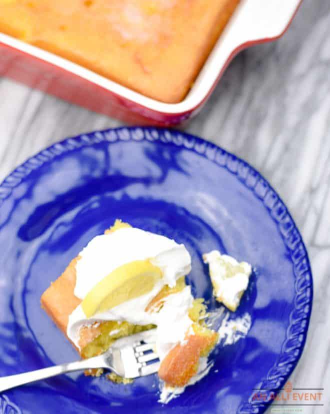 A bite of Lemonade Poke Cake