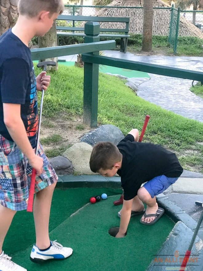 Playing Mini Golf with the grandkids