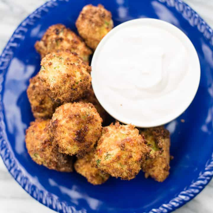 Air Fryer Broccoli Cheese Bites With Dipping Sauce