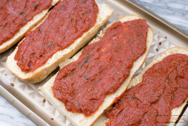 Homemade Pizza Sauce on French Bread