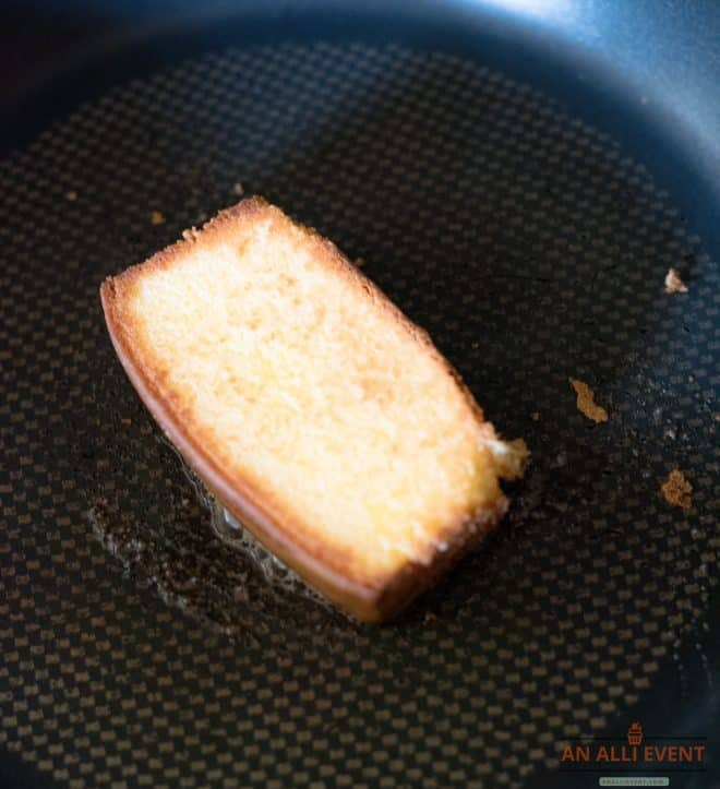 Toast pound cake in skillet.