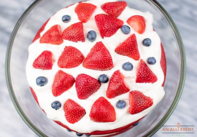 Top Red Velvet Trifle with Strawberries and Blueberries