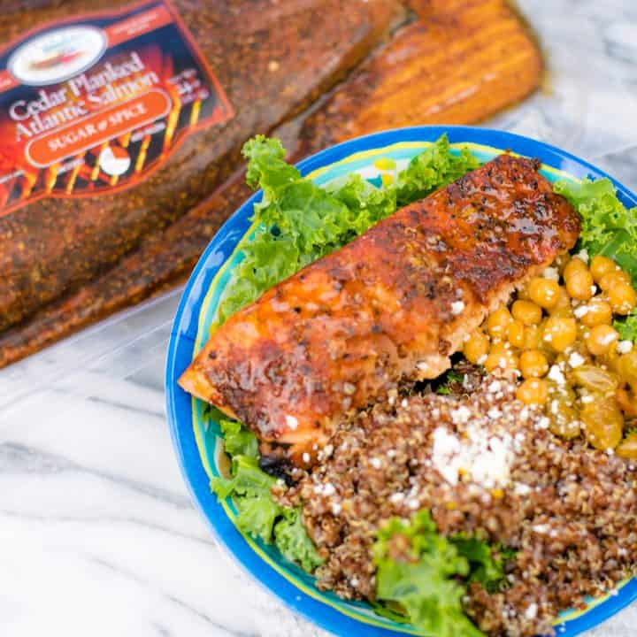 Salmon and Quinoa arranged in bowl