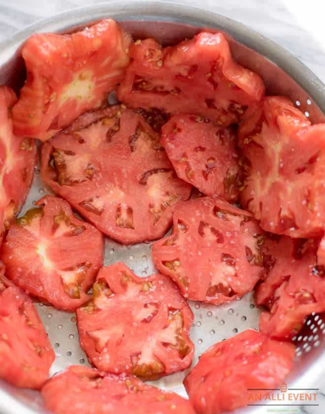 Drain tomatoes for cobbler