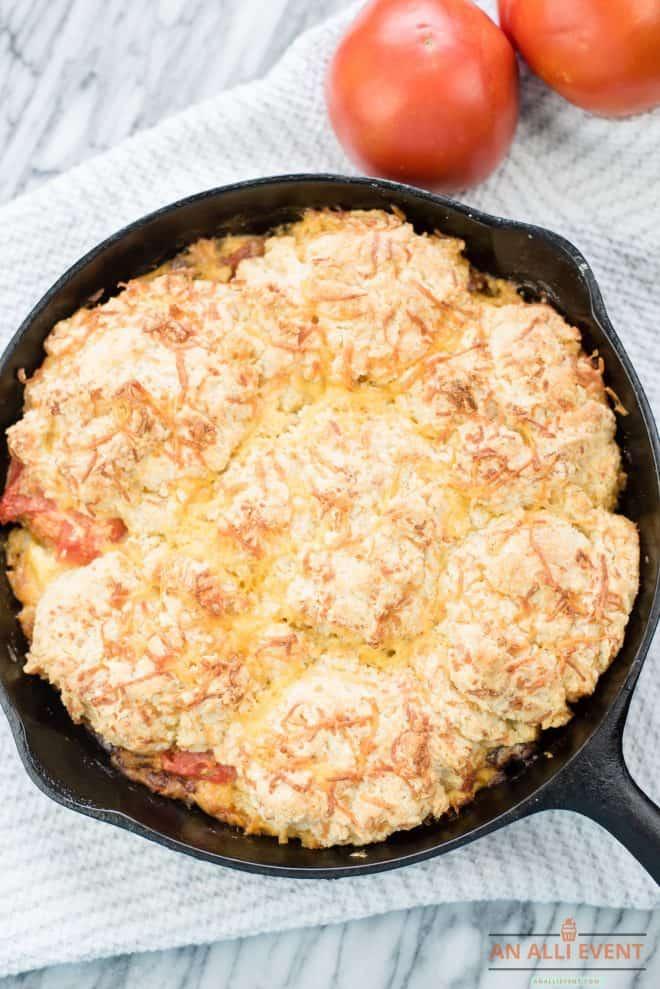 Savory Bacon Tomato Cobbler