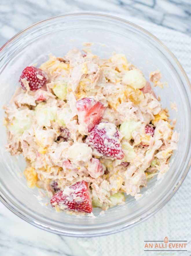 Mix Tuna with Fruit and Yogurt