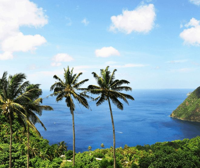 St Lucia view of the ocean and rain forrest