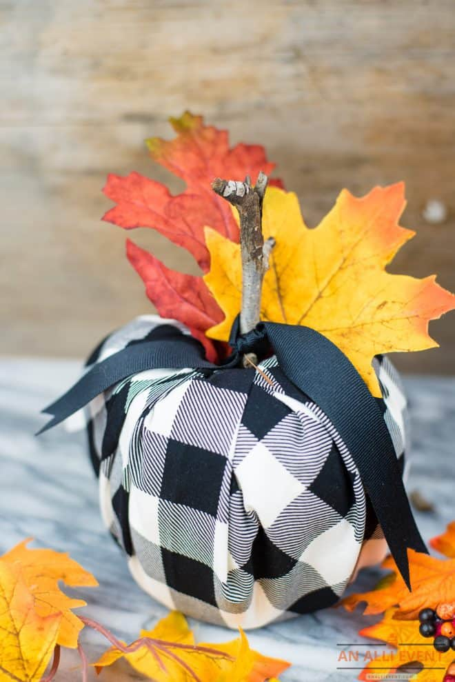 DIY Buffalo Plaid Pumpkins Using Rolls of TP