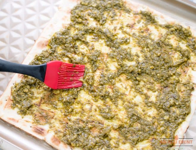 Pesto on Flatbread Pizza Crust
