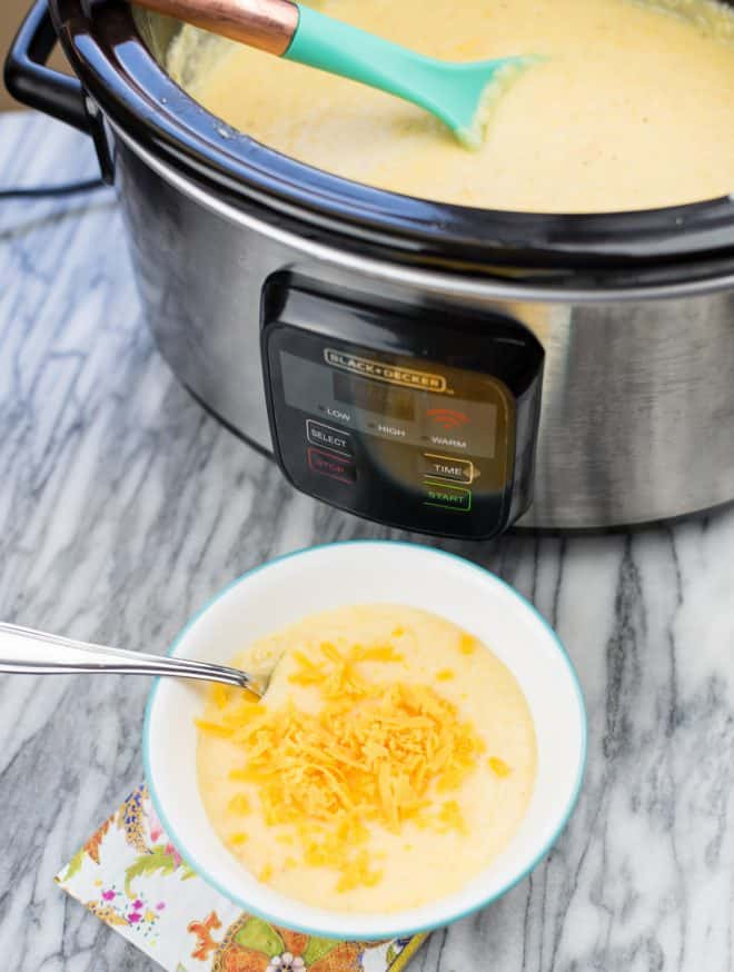 Overnight Slow-Cooker Cheese Grits