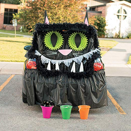 Black Cat Trunk Or Treat Decorating Kit for Halloween (57 piece set)
