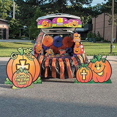 Fun Express - Christian Pumpkin Trunk Or Treat Kit for Halloween - Party Decor - Wall Decor - Cutouts - Halloween - 35 Pieces