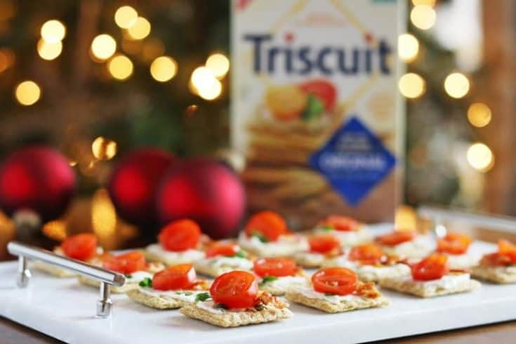 Easy Triscuit Appetizer Recipe with Bacon, Tomato, & Cream Cheese