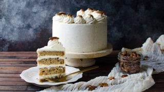 Bourbon Butter Pecan Cake with Maple Frosting