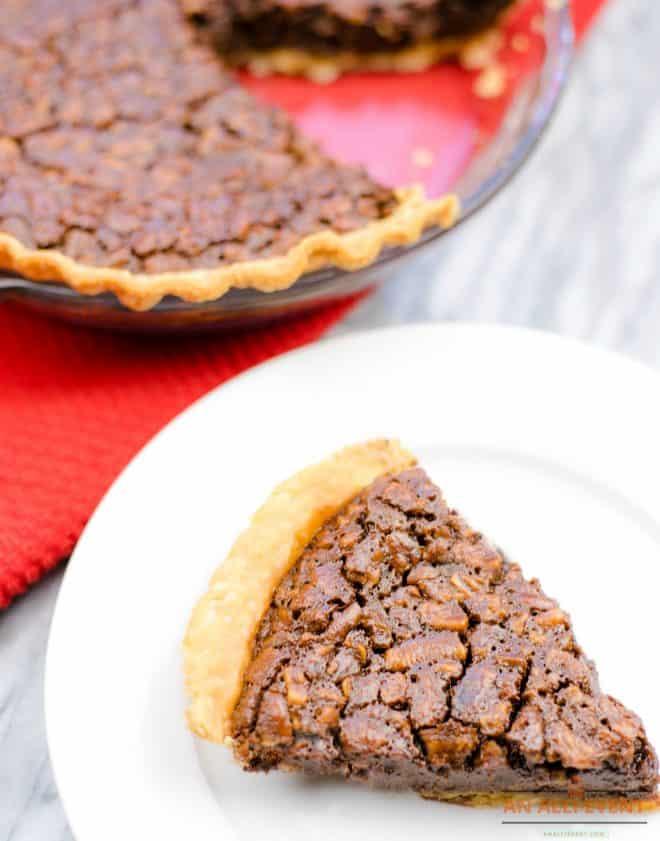 Chocolate Fudge Pecan Pie Slice