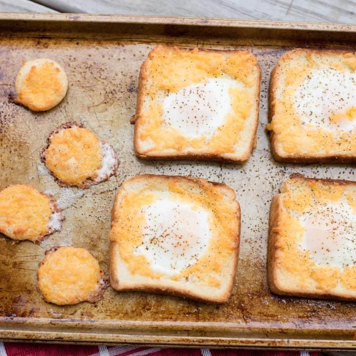 Sheet Pan Cheesy Egg In Hole Texas Toast