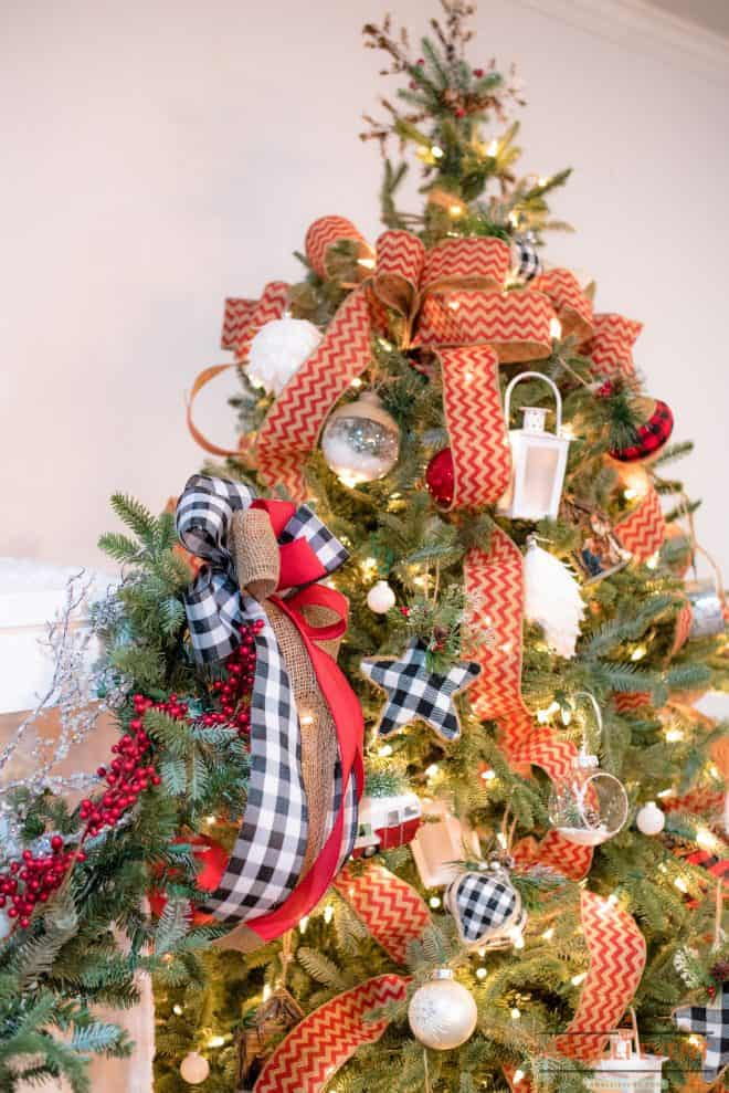 Cascading Ribbon on Christmas Tree