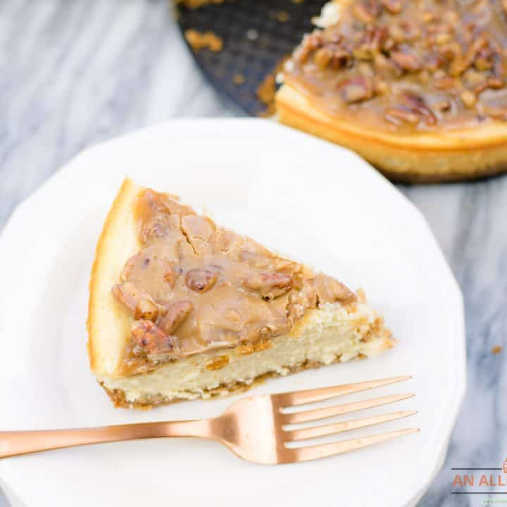 Pecan Praline Topped Cheesecake
