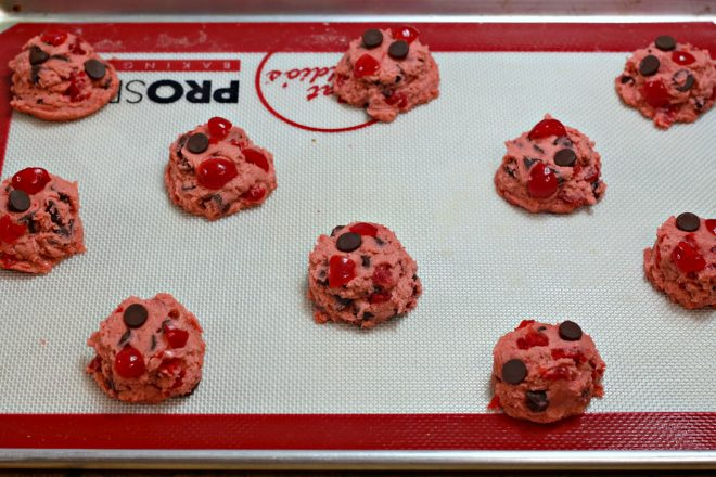 Cherry Garcia Cookie Dough Scoops on a Baking Sheet Ready To Bake