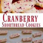 Cranberry Shortbread Cookies on Red Platter