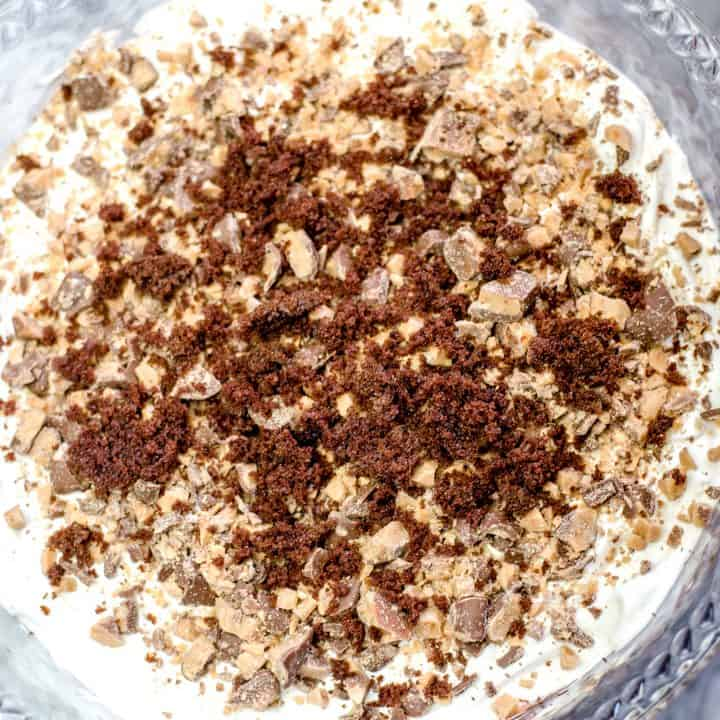 Heath Bar Trifle Layered in a Clear Serving Bowl