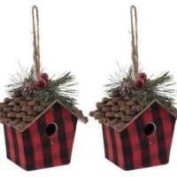 Red Check Buffalo Plaid Birdhouse Ornaments