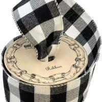 Black White Buffalo Plaid Ribbon
