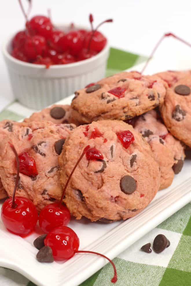 Cherry Garcia Cookies on White Platter garnished with cherries