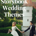 Storybook Wedding Themes featuring a bride and groom in front of a castle.