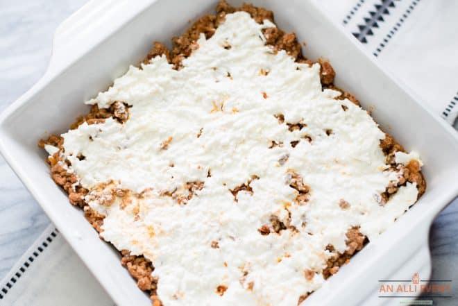 Layer of Sour Cream and Mozzarella Cheese