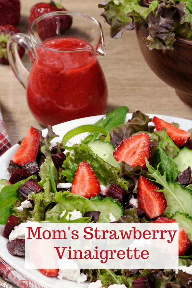Salad on Plate With Mom's Strawberry Vinaigrette