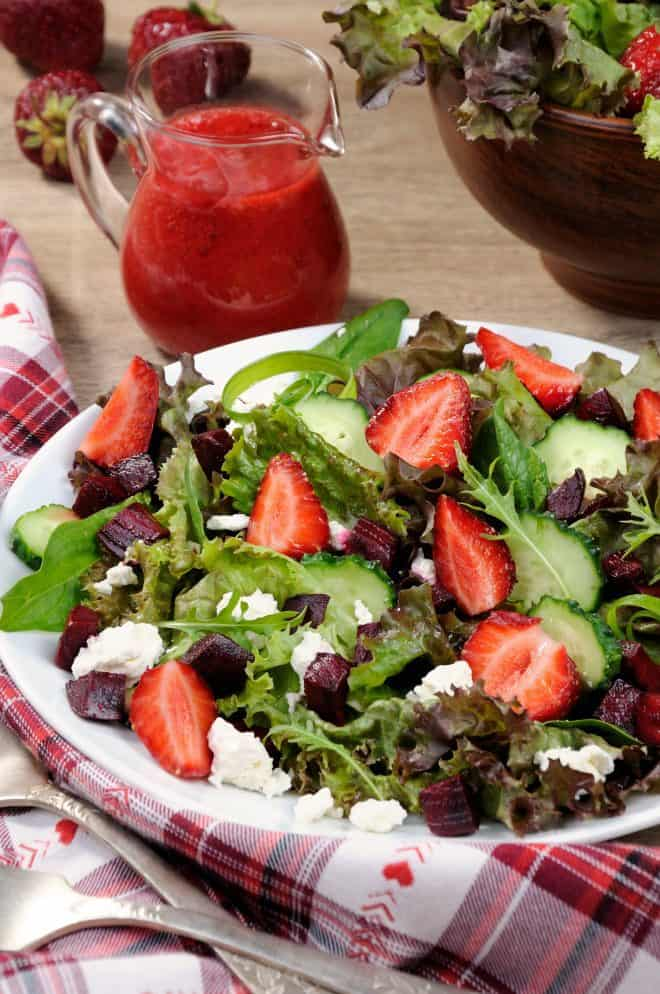 Strawberry Vinaigrette and Salad