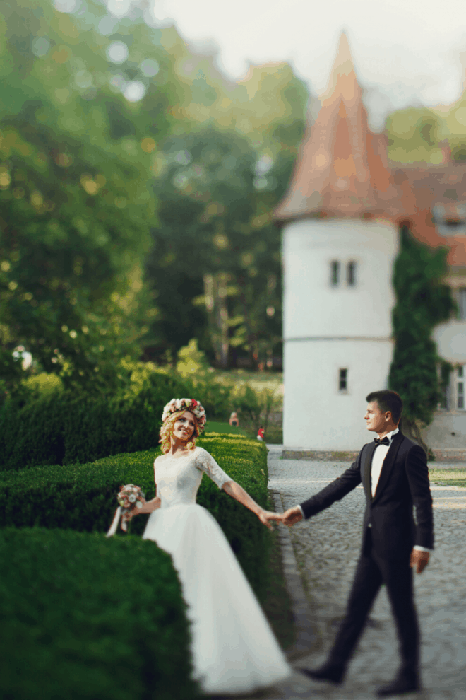 Storybook Wedding Ideas - With Bride and Groom in Front of a Castle