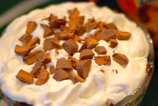 Top Layer of Butterfinger Peanut Butter Cup Trifle in bowl