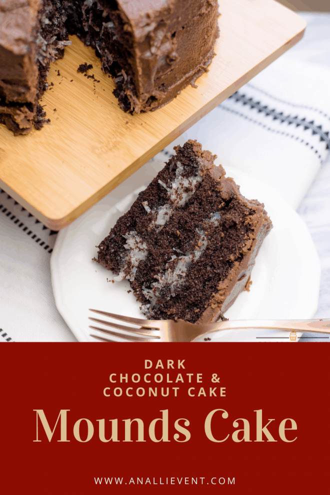 Chocolate Mounds Cake - A Dark Chocolate Cake with coconut filling and chocolate frosting