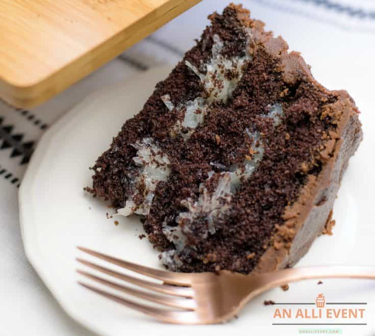 Slice of Mounds Cake - Dark Chocolate Cake with Coconut Filling and Chocolate Frosting