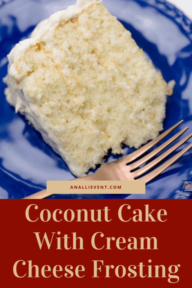 Best Coconut Cake With Cream Cheese Coconut Frosting on blue plate