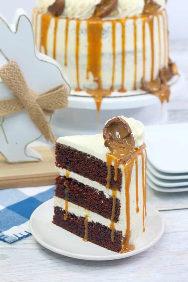 Triple Chocolate Cadbury Cake With Vanilla Frosting and Caramel Drizzle