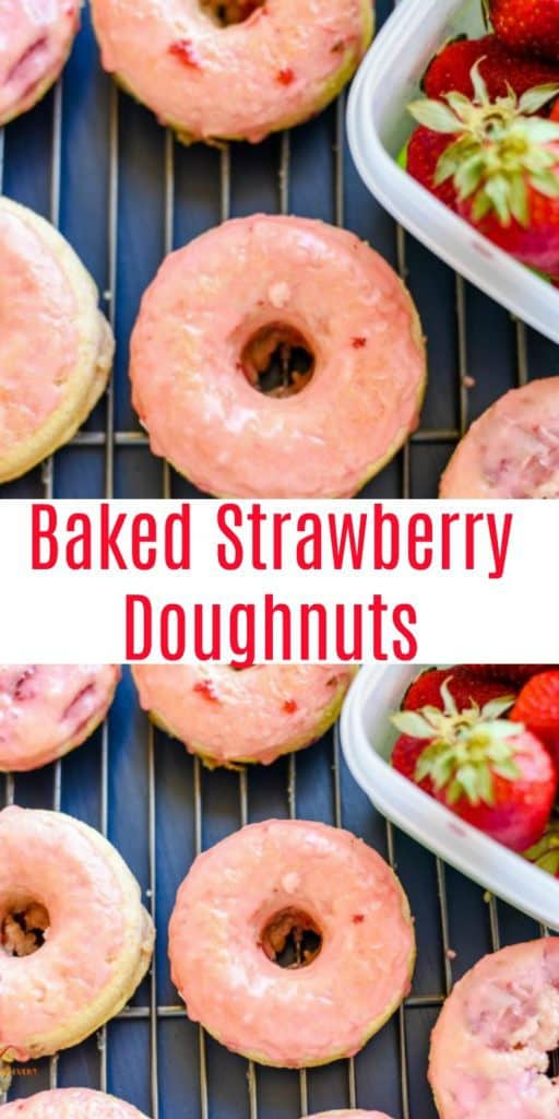 Baked Strawberry Doughnuts dipped in strawberry glaze on cooling rack