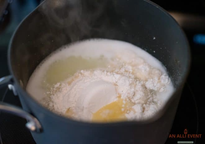Churro Mixture heating on the stove