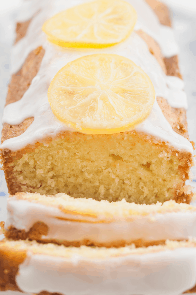 Close Up of Lemon Bread with lemon slices on top of a white glaze