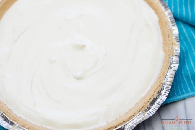 Lemon Icebox Pie - Filling poured into graham cracker crust, ready to chill