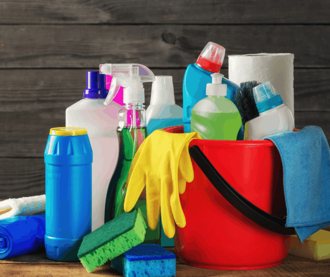 Cleaning Products in red bucket
